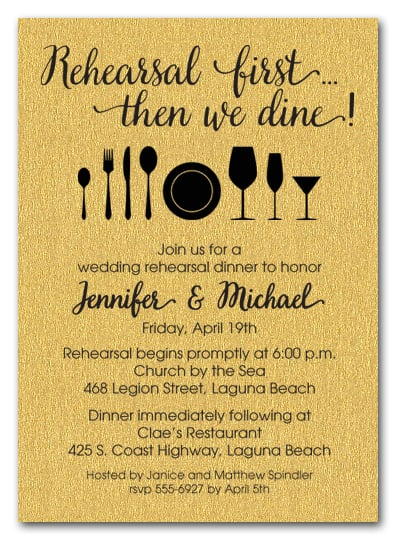 Rehearsal First Gold Shimmery Party Invitations
