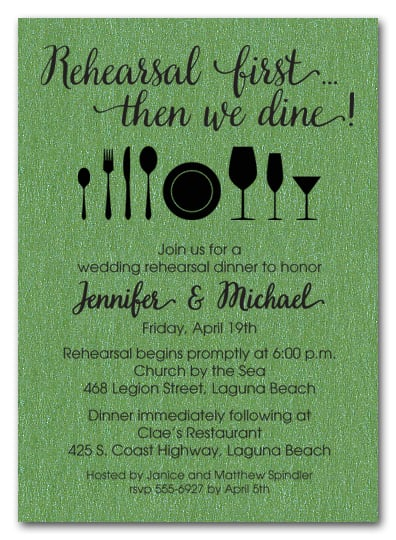 Rehearsal First Green Shimmery Party Invitations