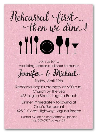 Rehearsal First Pink Shimmery Party Invitations