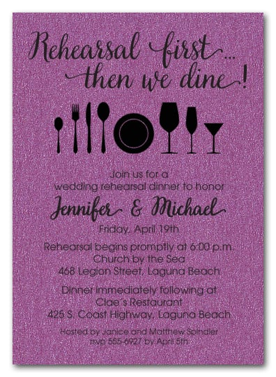 Rehearsal First Purple Shimmery Party Invitations
