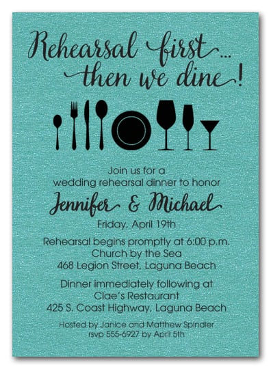 Rehearsal First Turquoise Shimmery Party Invitations