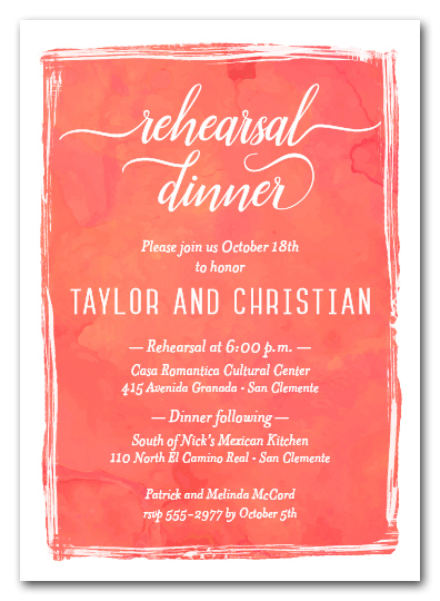 Mandarin Watercolor Rehearsal Dinner Invitations