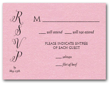 shimmery pink classic wedding invitation rsvp cards