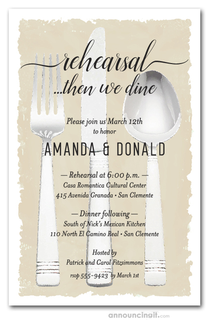 Flatware on Ivory Rehearsal Dinner Invitations