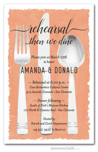 Flatware on Pumpkin Rehearsal Dinner Invitations