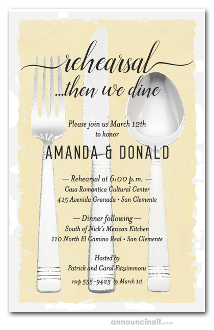 Flatware on Yellow Rehearsal Dinner Invitations