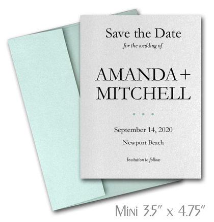 Simplicity Mini Save the Date Cards Wedding / AQUA Envelopes