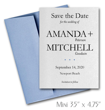 Simplicity Mini Save the Date Cards Wedding / BLUE Envelopes