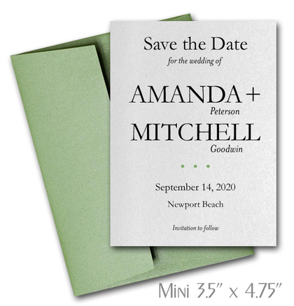 Simplicity Mini Save the Date Cards Wedding / GREEN Envelopes