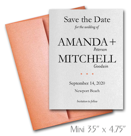 Simplicity Mini Save the Date Cards Wedding / ORANGE Envelopes