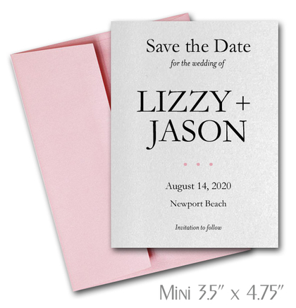 Simplicity Mini Save the Date Cards Wedding / PINK Envelopes