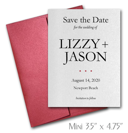 Simplicity Mini Save the Date Cards Wedding / RED Envelopes