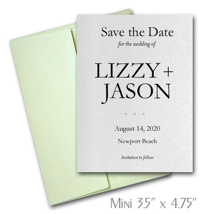 Simplicity Mini Save the Date Cards Wedding / SERPENTINE Envelopes