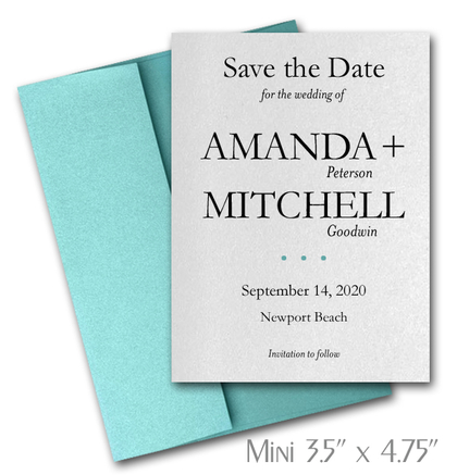 Simplicity Mini Save the Date Cards Wedding / TURQUOISE Envelopes