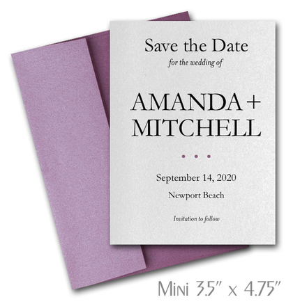 Simplicity Mini Save the Date Cards Wedding / PURPLE Envelopes
