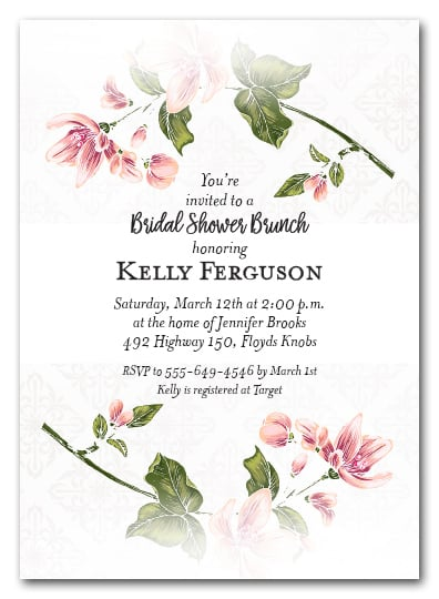 Spring Flower Stems Bridal Shower Invitations