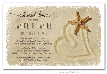 Starfish and Sand Heart Rehearsal Dinner Invitations