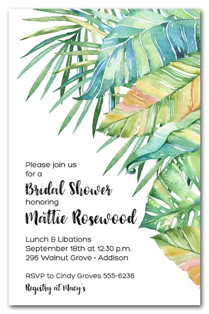 Tropical Leaves Bridal Shower Invitations