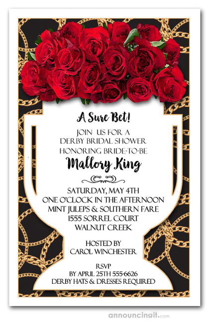 Vase of Roses Derby Bridal Shower Invitations