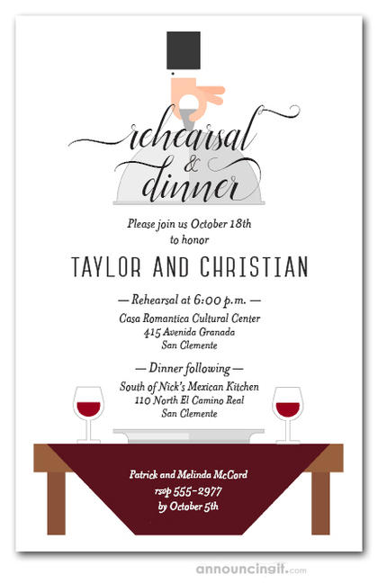 Waiter, Wine & Berry Red Table Rehearsal Dinner Invitations