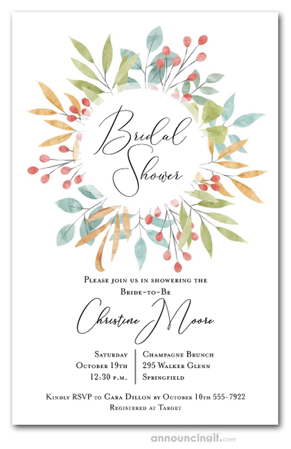 Warm Leaves and Berries Wreath Shower Invitations