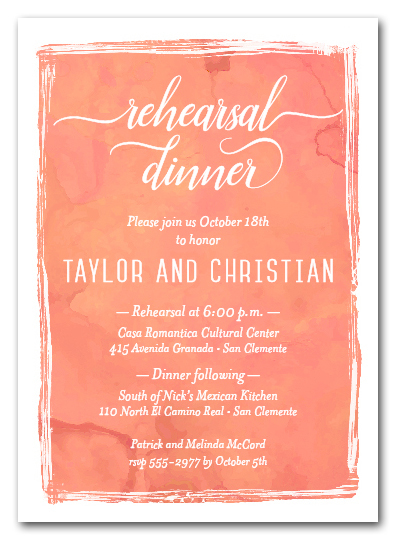 Peaches Watercolor Rehearsal Dinner Invitations