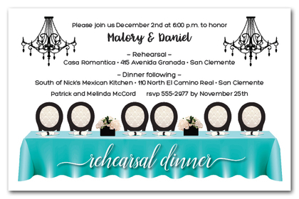 Tiffany Blue Head Table Rehearsal Dinner Invitations