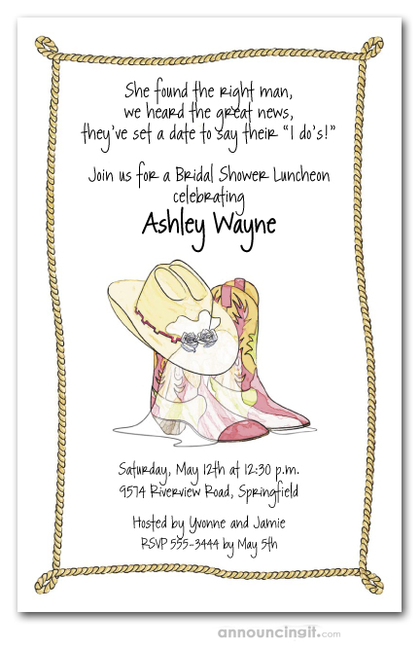 Western Boots Hat & Veil Bridal Shower Invitations