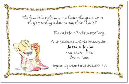 Western Bachelorette Party Invitations