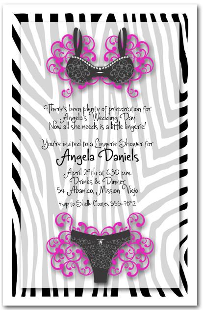 Zebra border black lingerie bridal shower invitations zebra border black lingerie filmwisefo