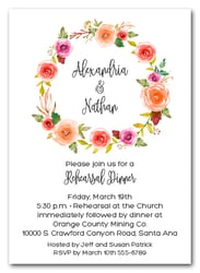 Apricot Floral Wreath Rehearsal Dinner Invitations