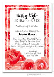 Blooming Roses Derby Bridal Shower Invitations
