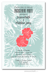 Coral Hibiscus Floral Engagement Party Invitations