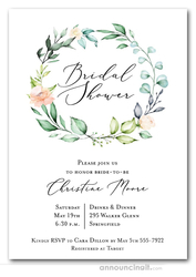 Elegant Soft Floral Wreath Bridal Shower Invitations