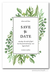 Greenery Corners Save the Date Cards