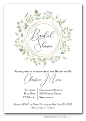 Pale Greenery Wreath Bridal Shower Invitations