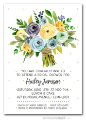 Indigo Blue Yellow Bouquet Bridal Shower Invitations