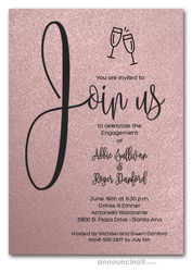 Join Us Shimmery Blush Pink Engagement Party Invitations