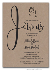 Join Us Shimmery Cappuccino Engagement Party Invitations