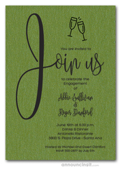 Join Us Shimmery Green Engagement Party Invitations