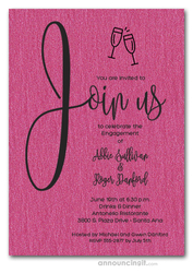 Join Us Shimmery Hot Pink Engagement Party Invitations