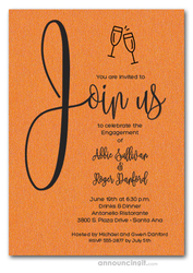 Join Us Shimmery Orange Engagement Party Invitations