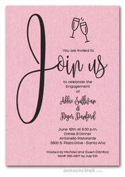 Join Us Shimmery Pink Engagement Party Invitations