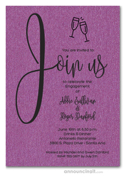 Join Us Shimmery Purple Engagement Party Invitations