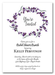 Lavender Sprigs Wreath Invitations