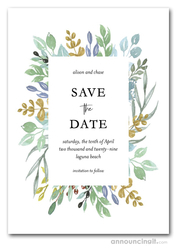 Sage Blue Gold Foliage Save the Date Cards
