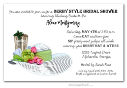 Mint Julep & White Derby Hat Bridal Shower Invites