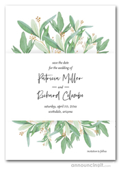 Pale Leaves Gold Sprigs Save the Date Cards