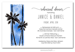 Palms on Blue Rehearsal Dinner Invitations