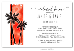Palms on Orange Rehearsal Dinner Invitations